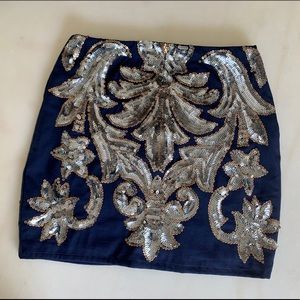 Francesca's navy and silver sequined mini skirt